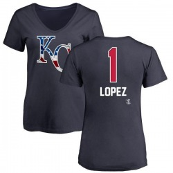 Women's Nicky Lopez Kansas City Royals Name and Number Banner Wave V-Neck T-Shirt - Navy